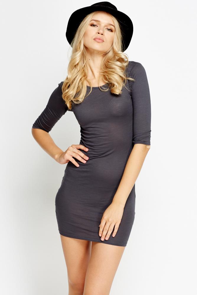 0fcf1c16d983 Basic Dark Grey Bodycon Dress - Just £5