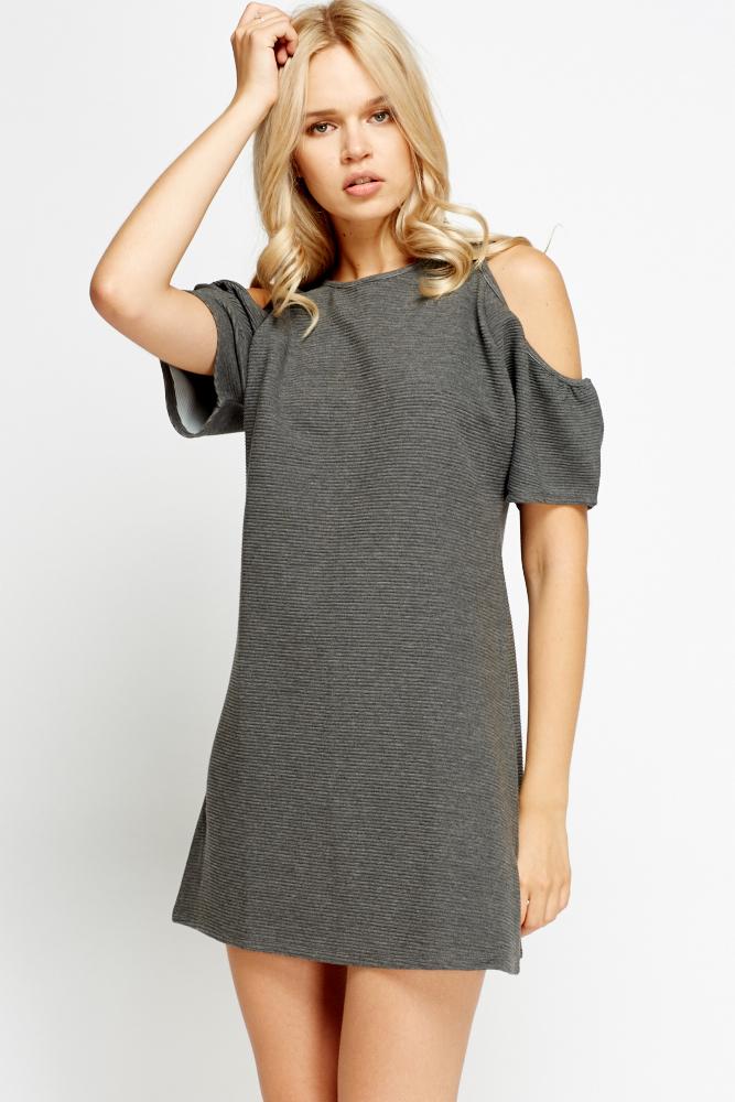 83574e540396 Grey Cold Shoulder Shift Dress - Just £5