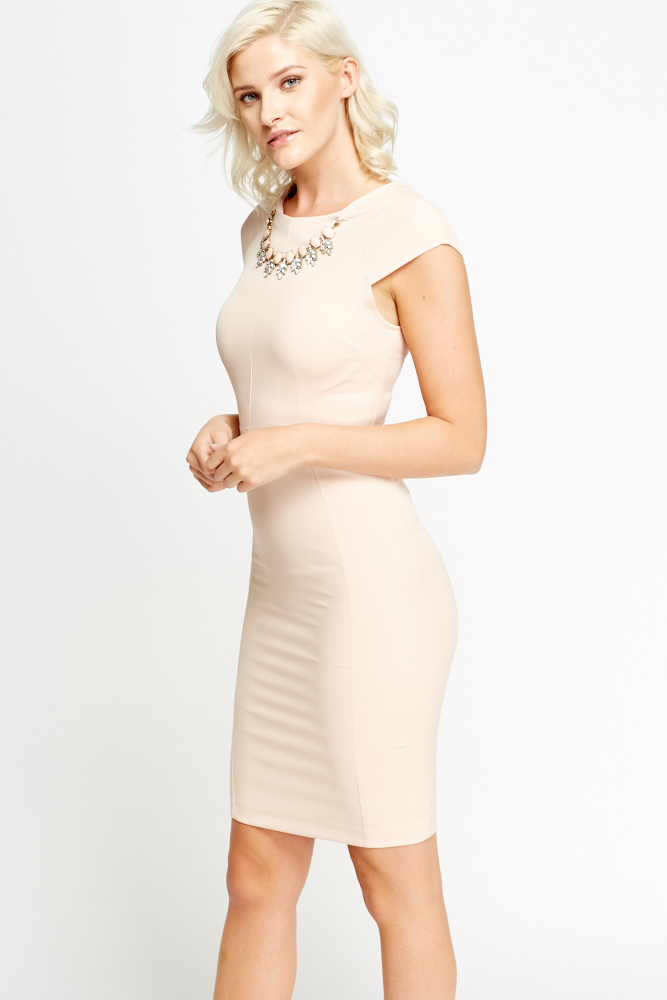 Jewelled Neck Nude Bodycon Dress - Just £5 0618e2afd