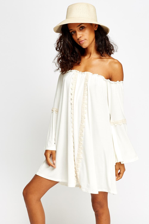 ffa940c82bc0 Lace Trim Cream Off Shoulder Dress - Just £5