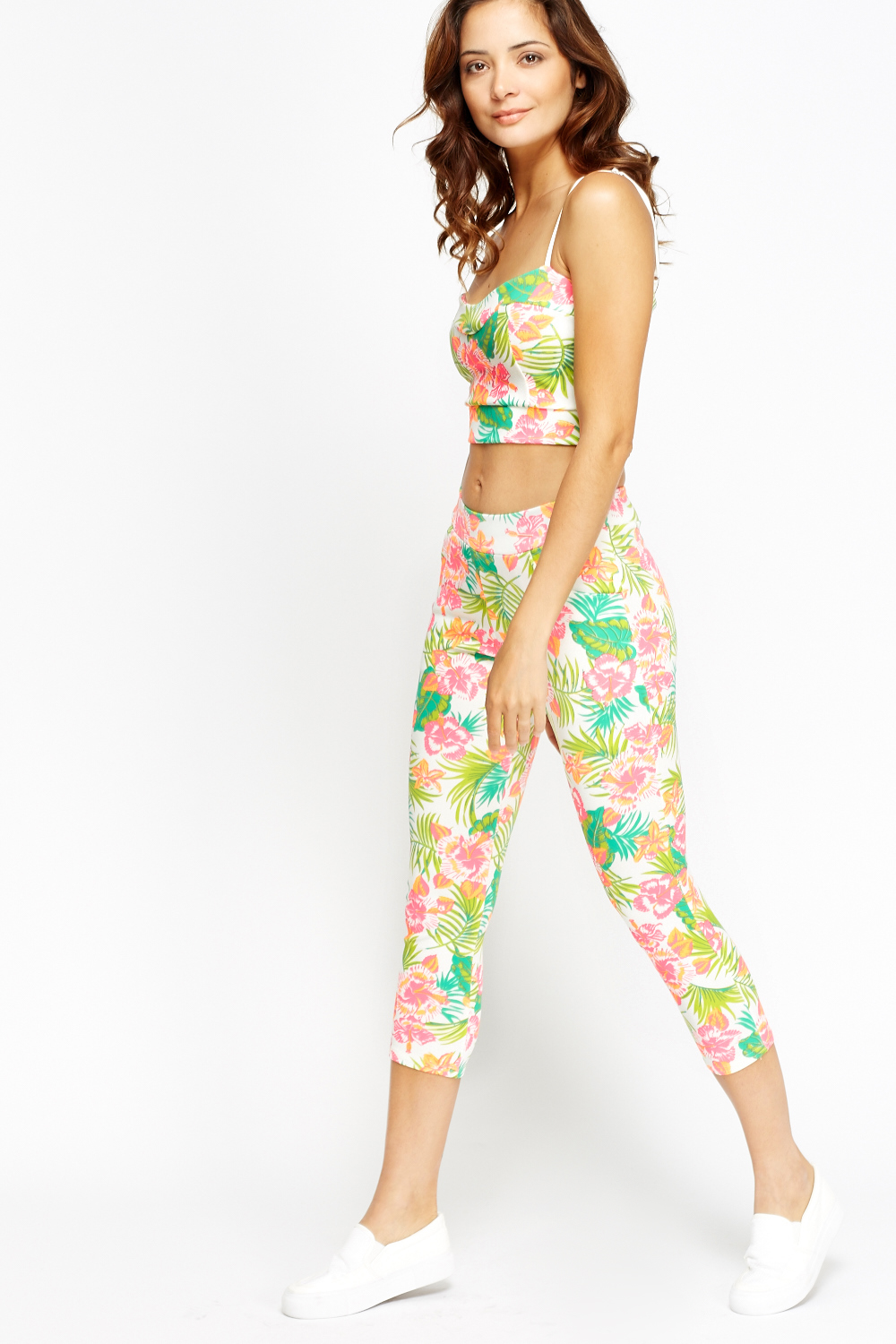 79f7b093cbc0b Floral Print Crop Top And Leggings 2 Piece Set - Just £5