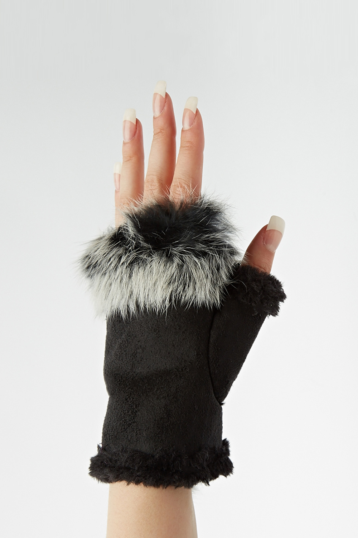 Faux Fur Trim Fingerless Gloves - Just £5
