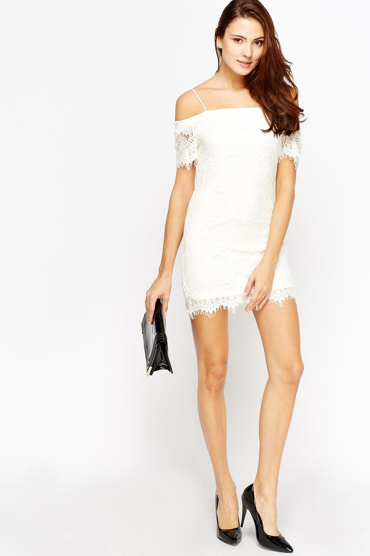 df3a84c5d8 Lace Off Shoulder Mini Dress - Just £5