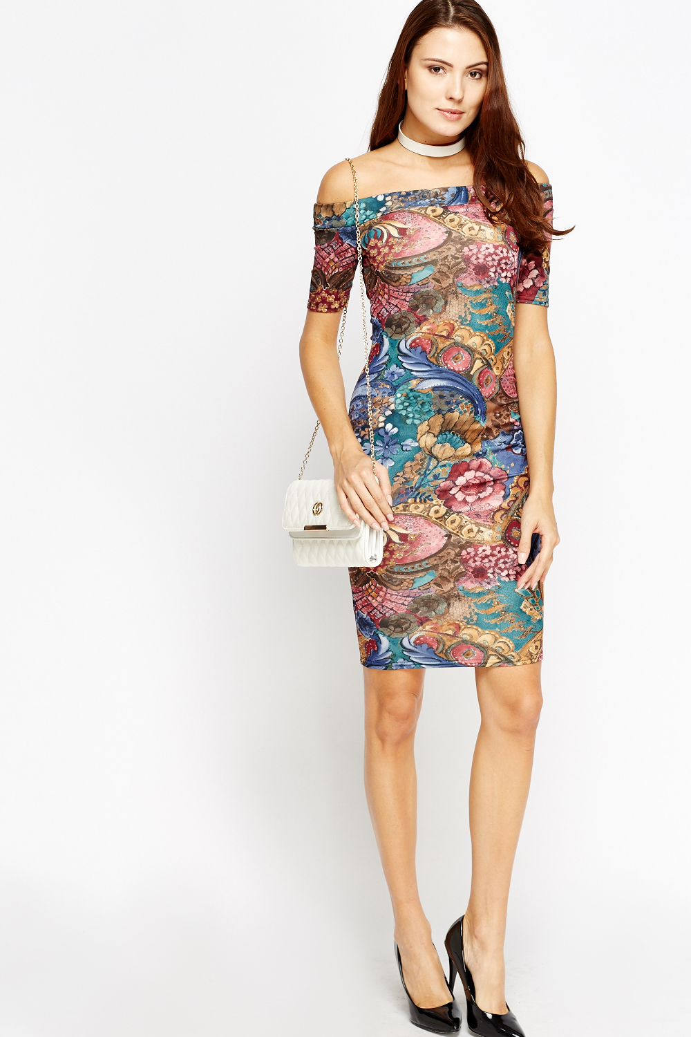ecfc8b6bd773 Multi Print Off Shoulder Dress - Just £5
