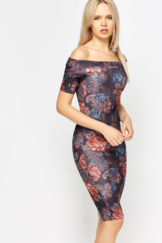 131416790a81 Ash Floral Off Shoulder Dress - Just £5