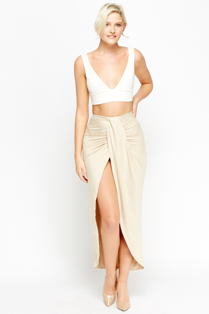 4ec703cef359b Beige Wrap Front Skirt - Just £5