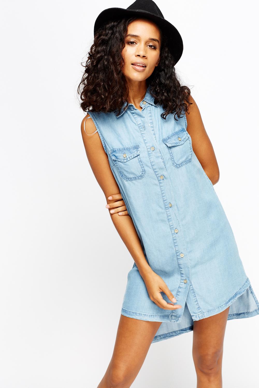 1849d93c4610 Light Blue Denim Dip Hem Dress - Just £5