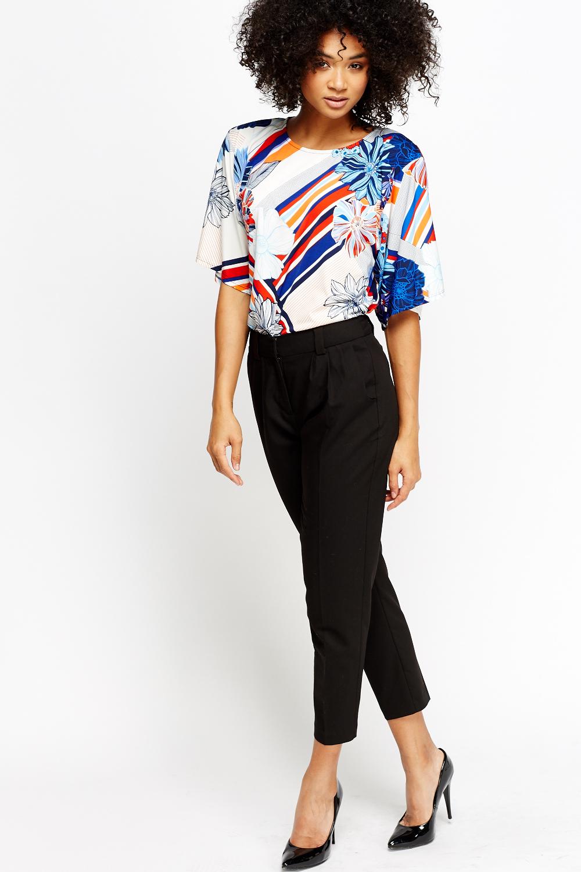 6f74fd74fbb6 Floral Printed Striped T-Shirt - Just £5