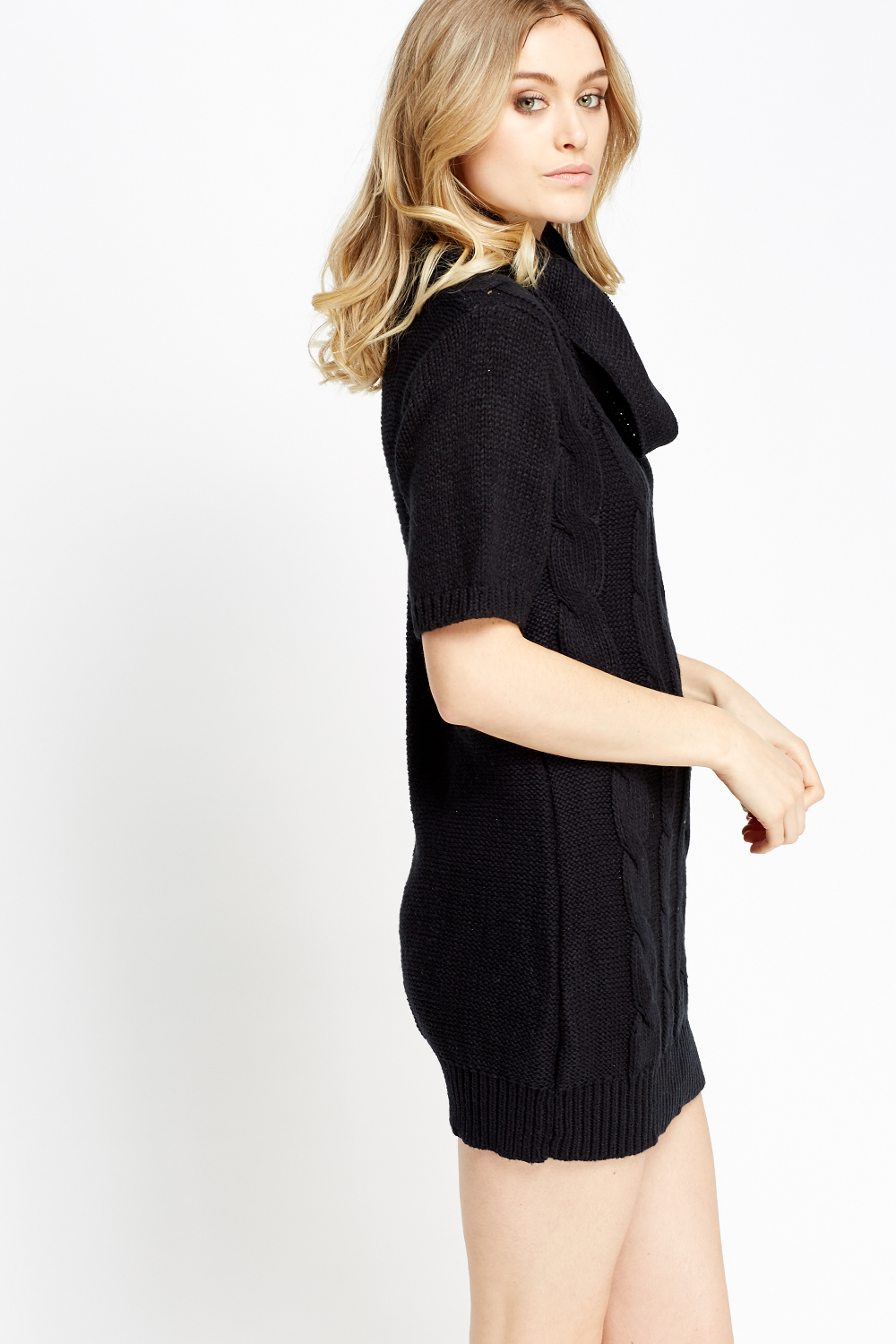 Cable Knit Short Sleeve Jumper Dress - Just ?5