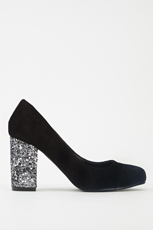 Glitter Block Heel Pumps - Just $6
