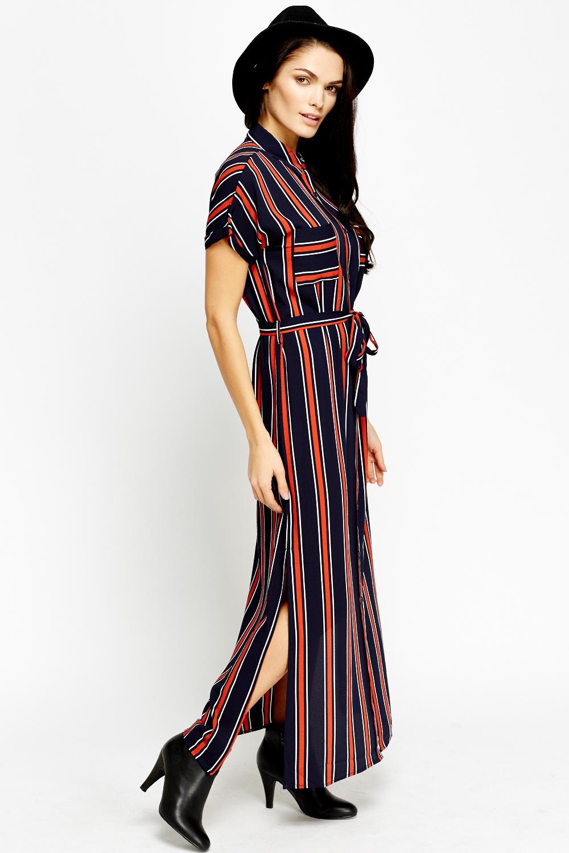 Double shirt dress design - Multi Stripe Maxi Shirt Dress Click On The Image To Zoom