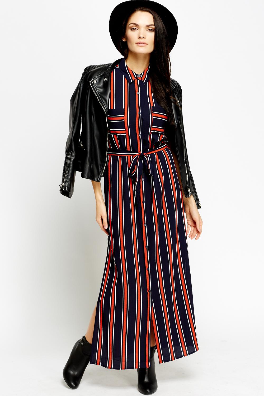 20db3676870c Multi Stripe Maxi Shirt Dress - Just £5