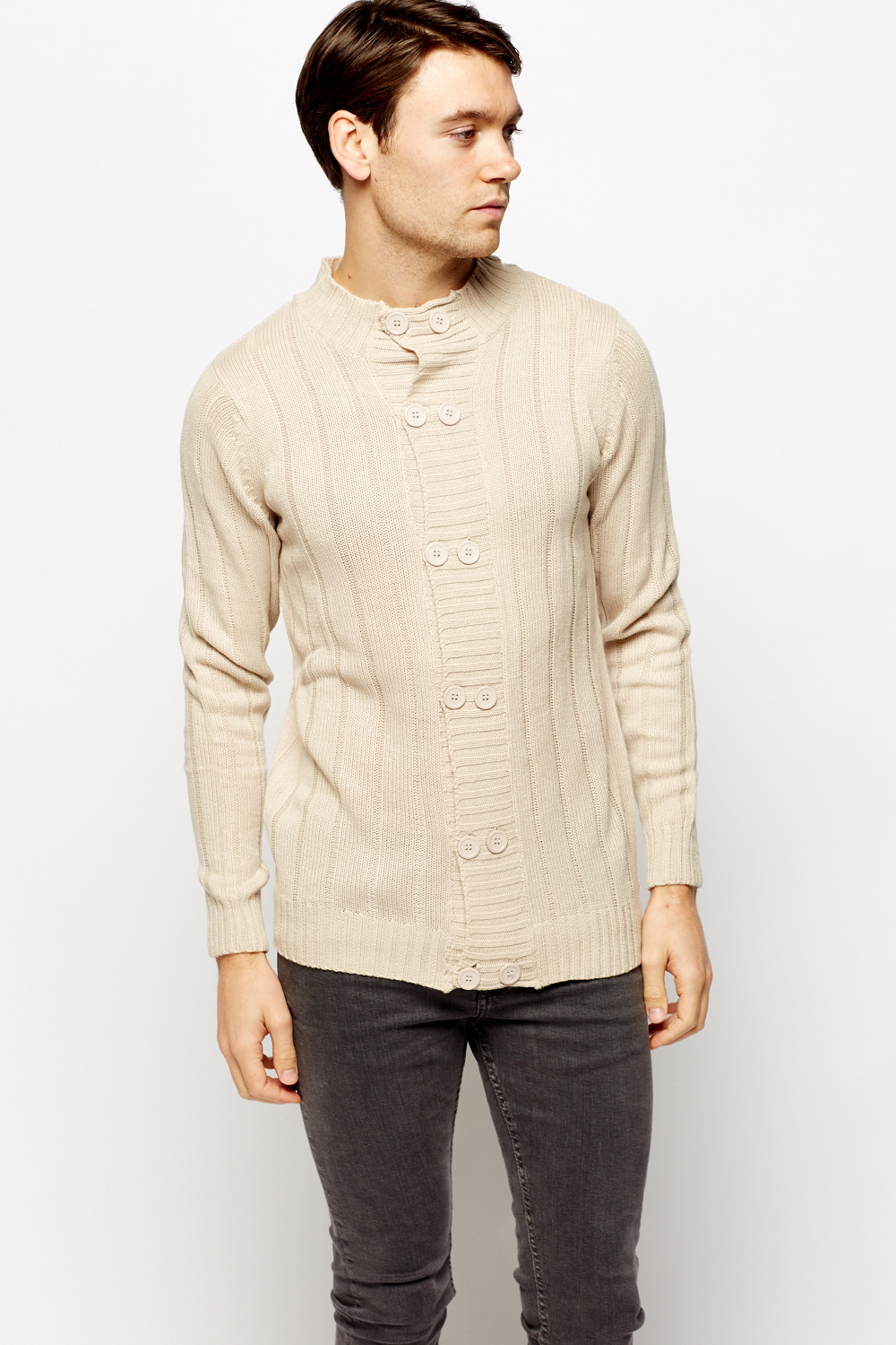 Ribbed High Neck Double Breasted Cardigan - Beige - Just £5