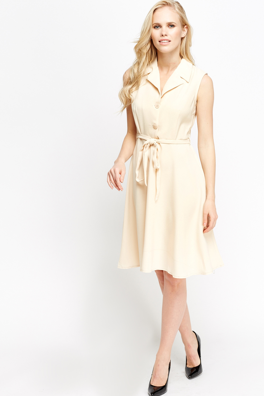 c75e77bc60a9 Midi Button Front Skater Dress - Just £5