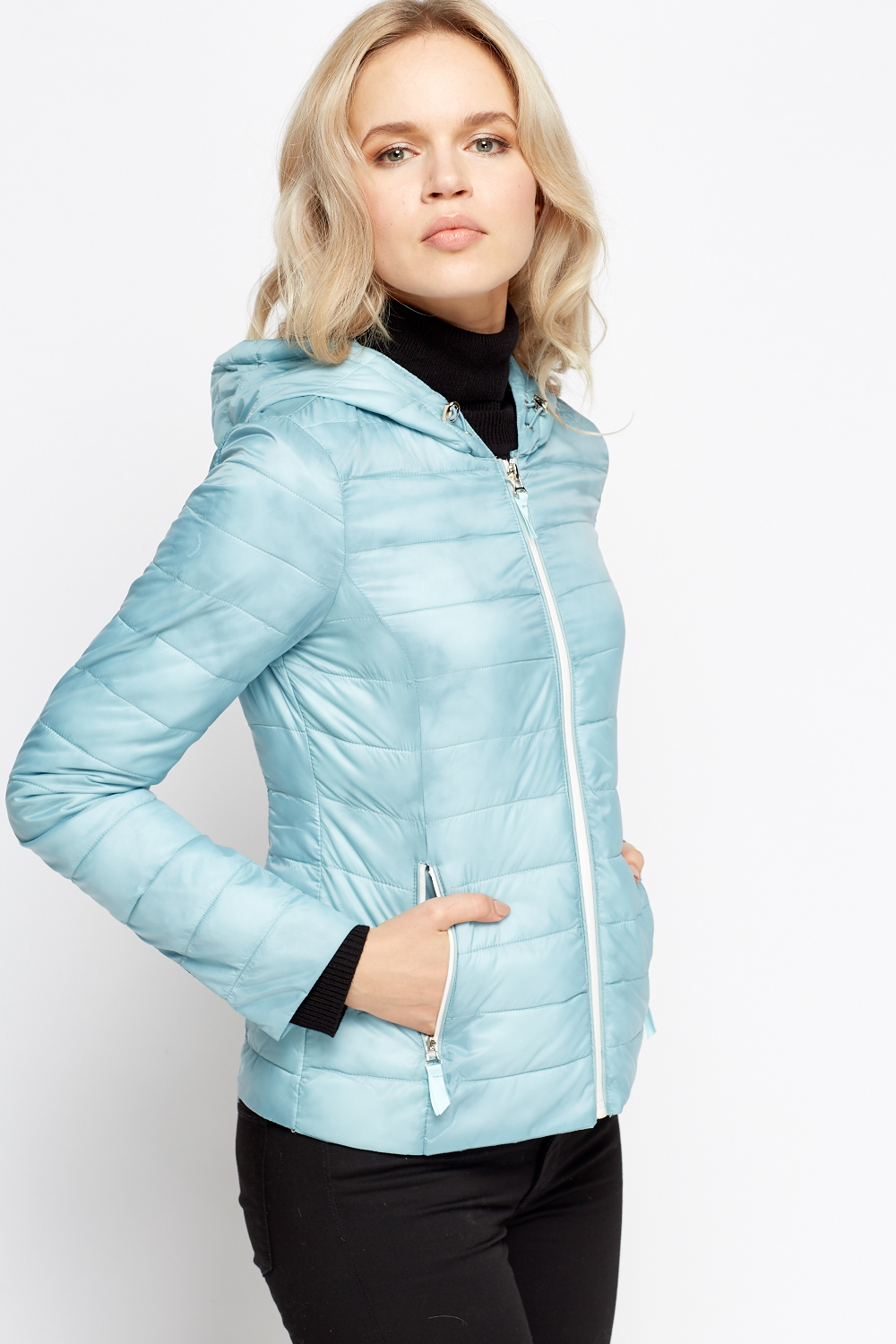 Zip Up Hooded Puffer Jacket - Just $6