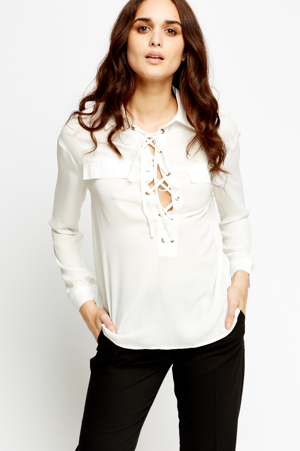 a6496aed2e Lace Up Front Blouse - Just £2