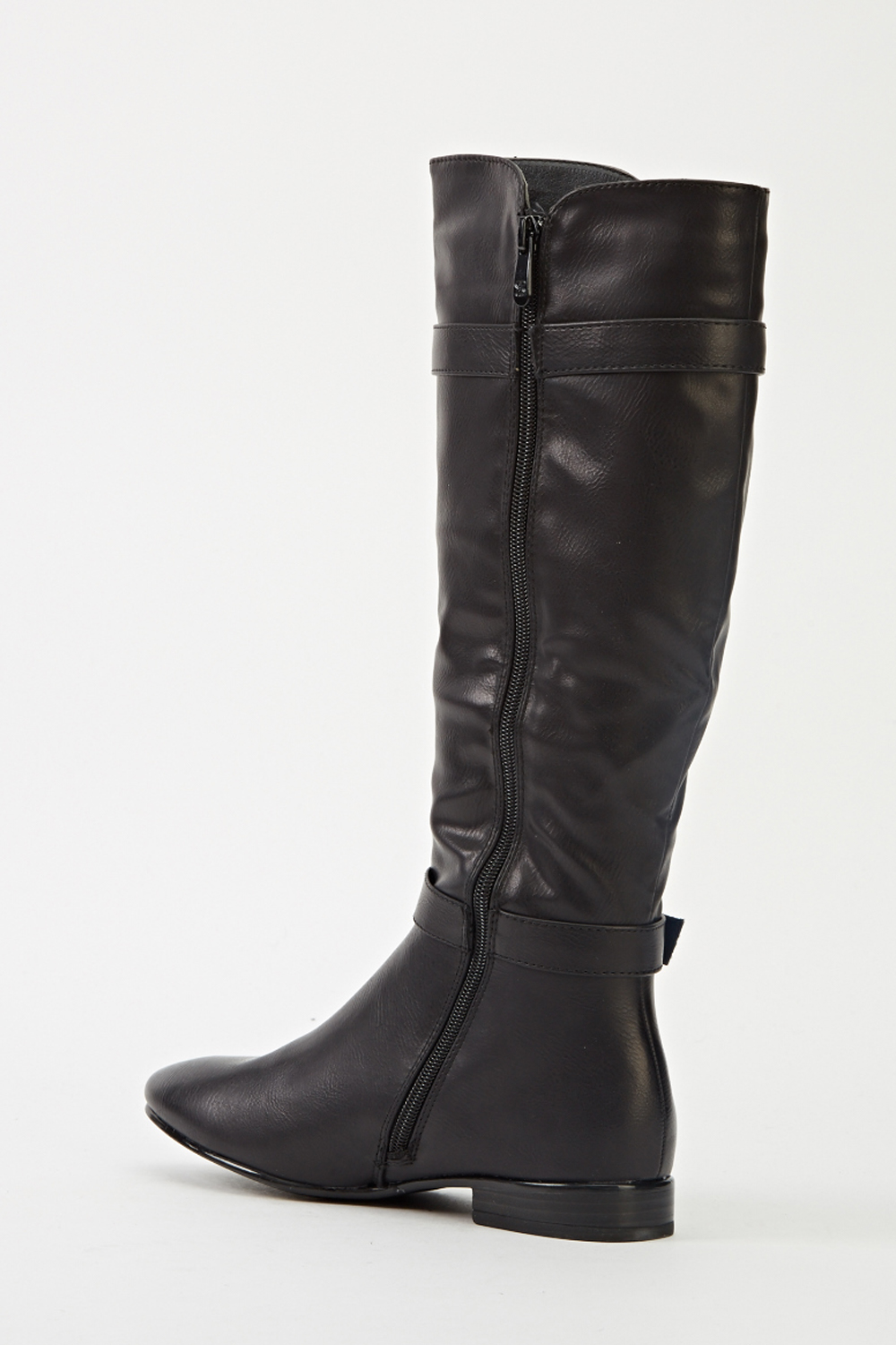 black faux leather buckle knee high boots just 163 5
