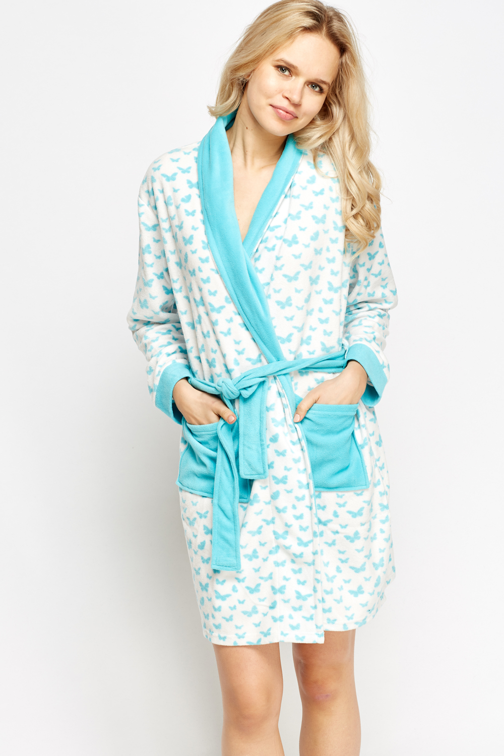 Butterfly Print Fleece Dressing Gown - Just £5