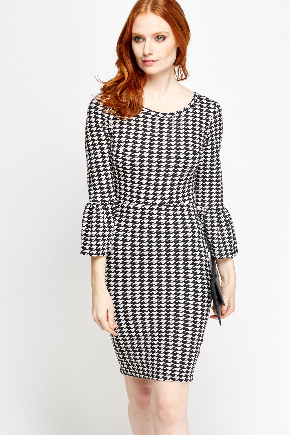 Houndstooth Flared Sleeve Dress Just 163 5