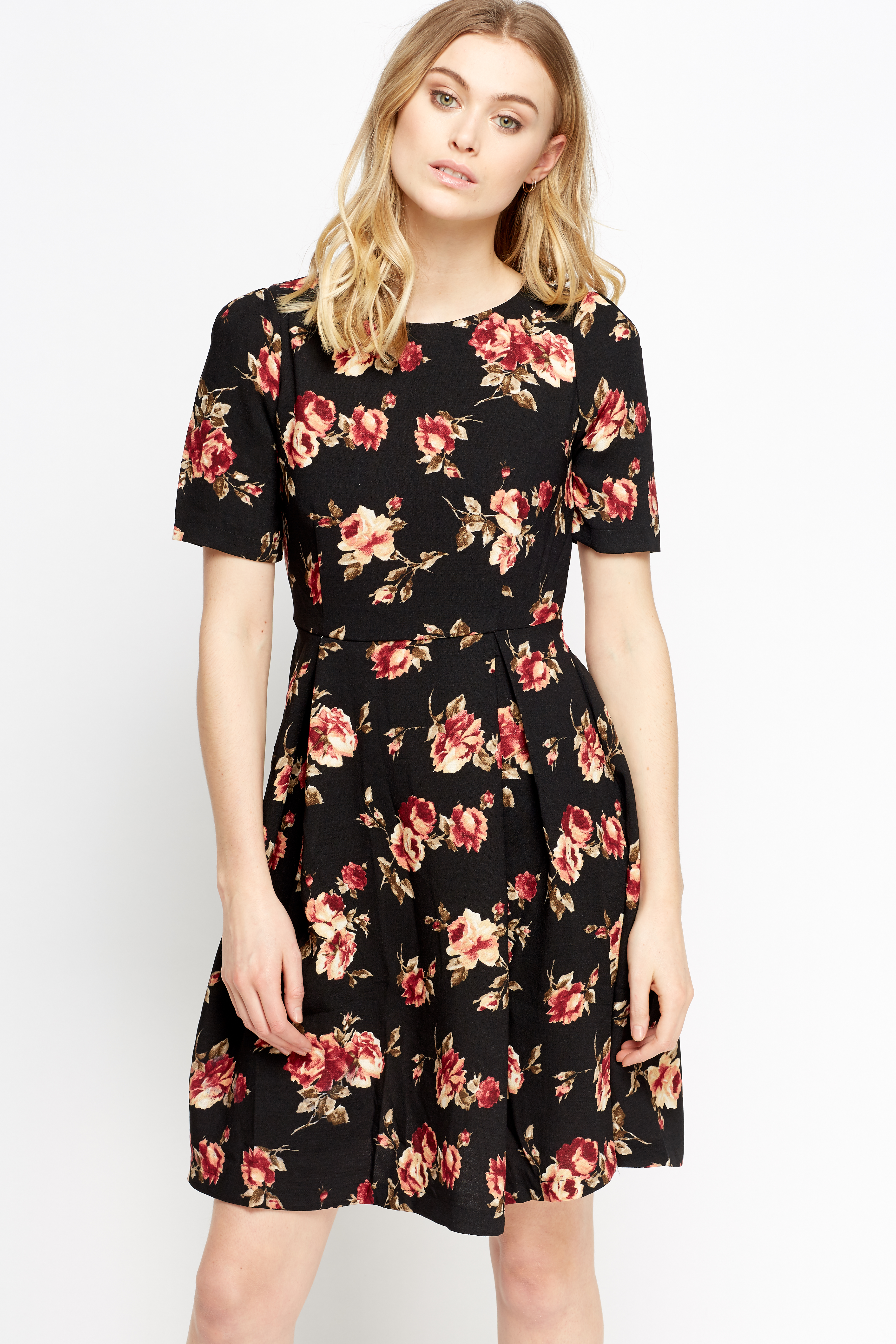 b8ec31ed42 Black Floral Skater Dress - Just £5