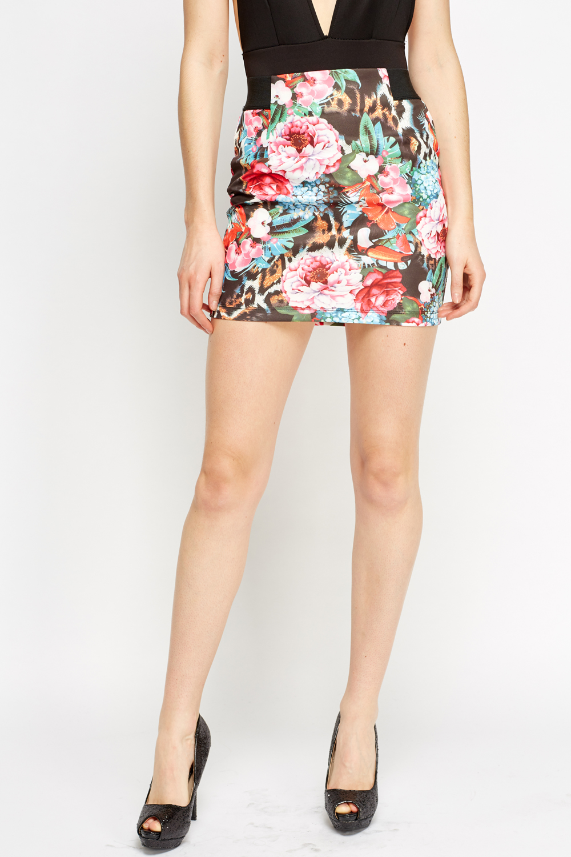 Wild Floral Mini Skirt Blue Just 163 5