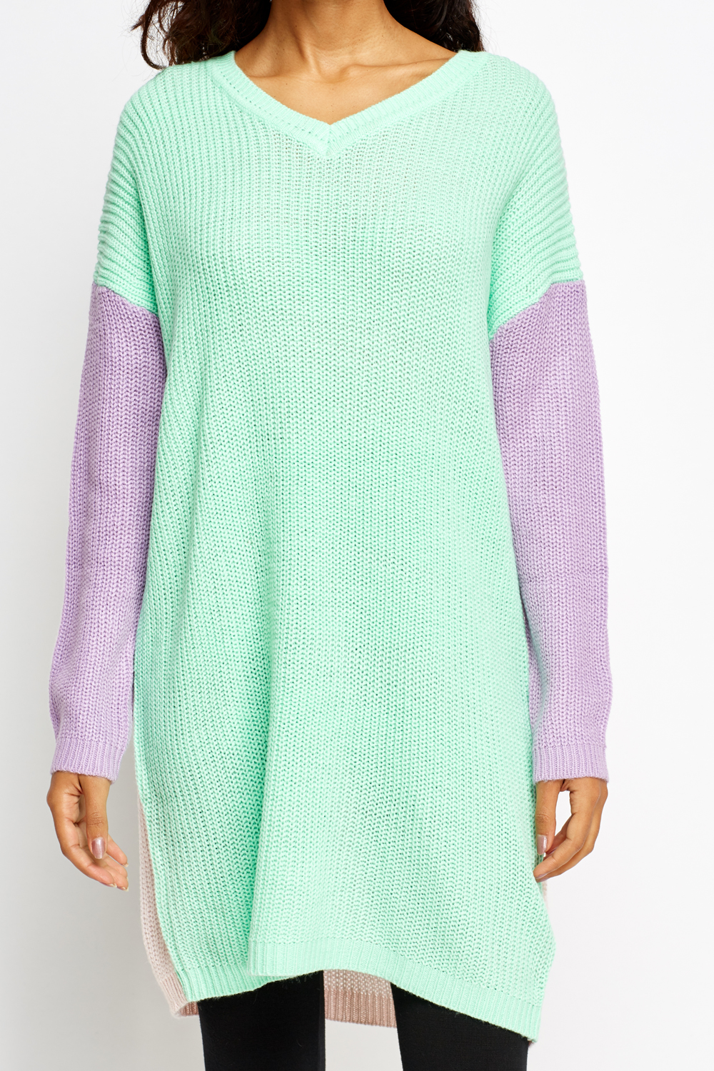 Colour Block Knitted Long Jumper - Green/Multi - Just ?5