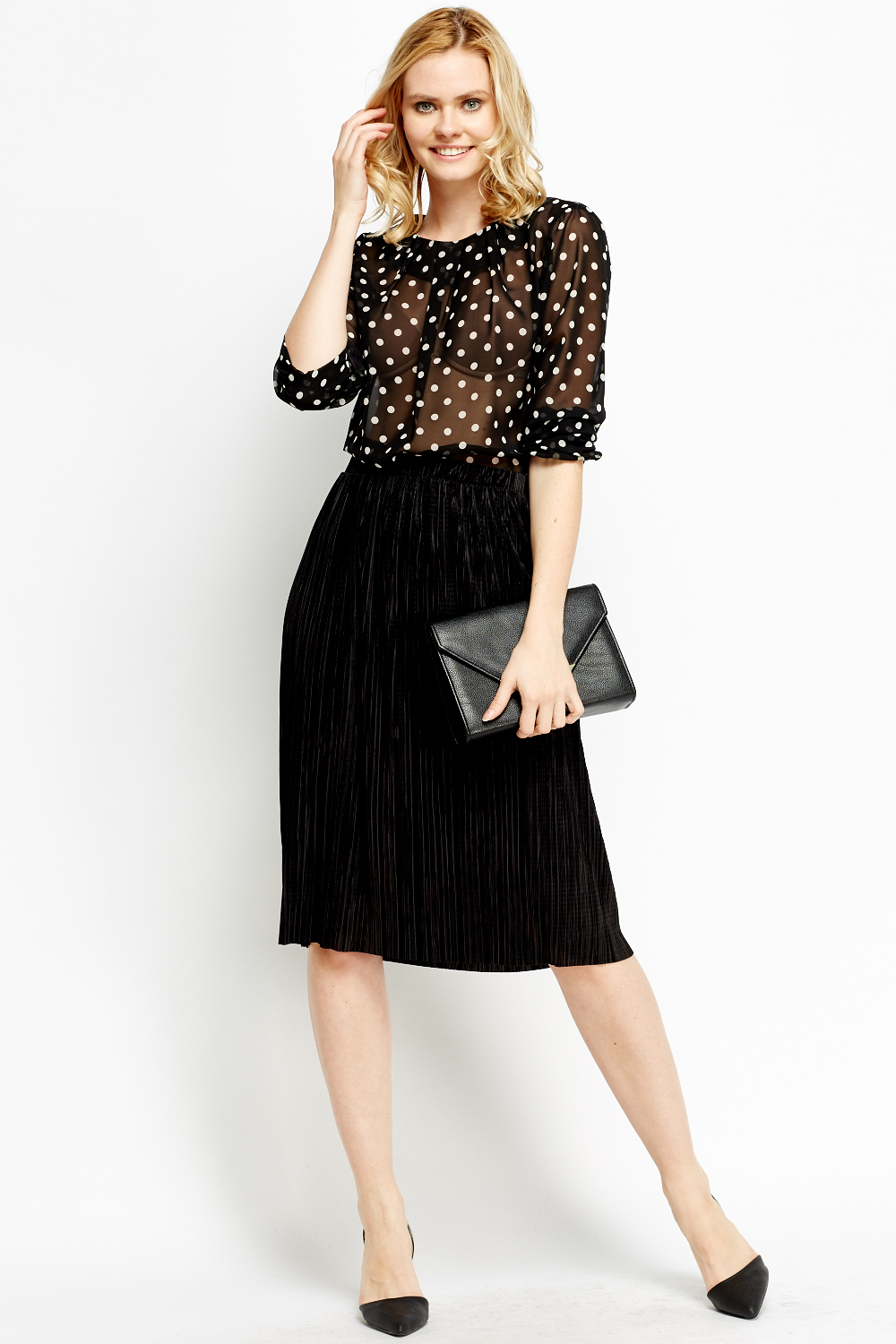 gorgeous black pleated midi skirt outfit pants