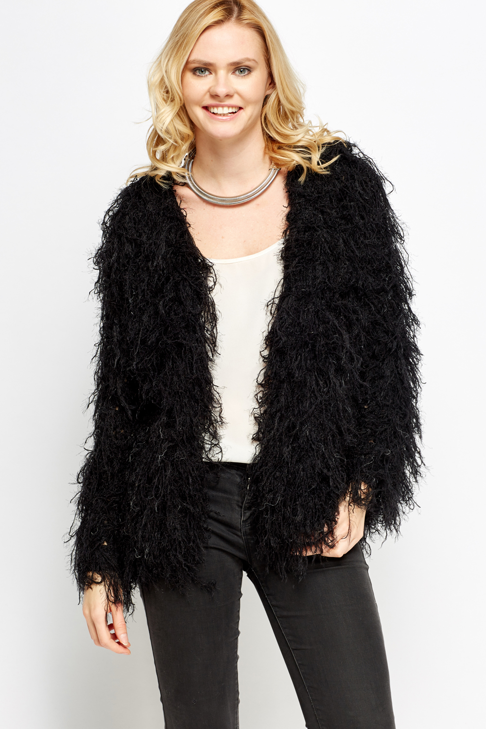 Fluffy Cropped Jacket Just 163 5