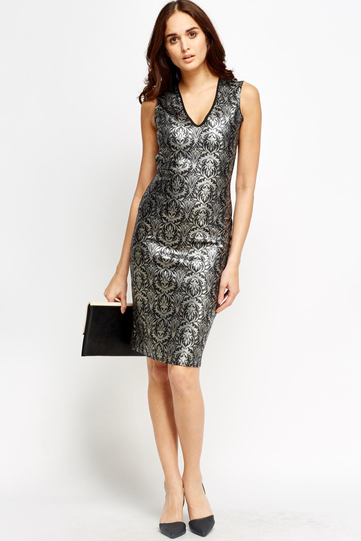 Shiny Printed Bodycon Midi Dress Just 163 5