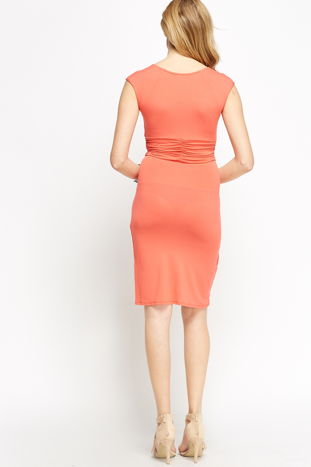 Ruched Wrap Bodycon Dress Brick Just 163 5