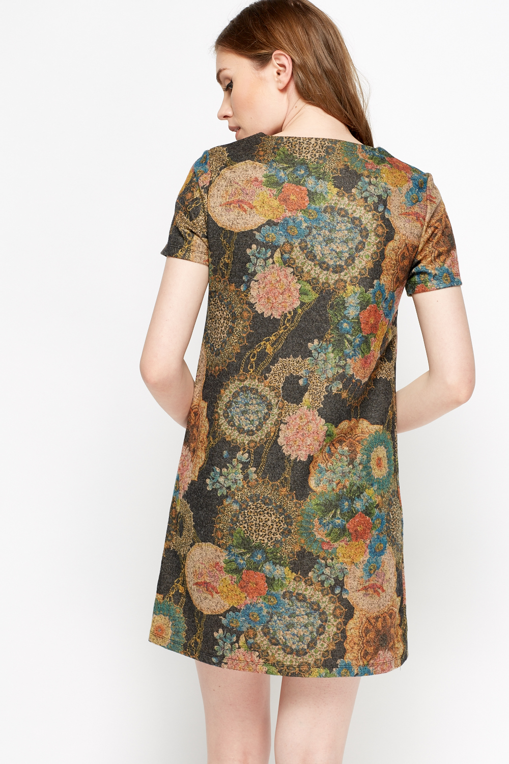 Detailed Neck Mix Print Dress Green Multi Or Charcoal