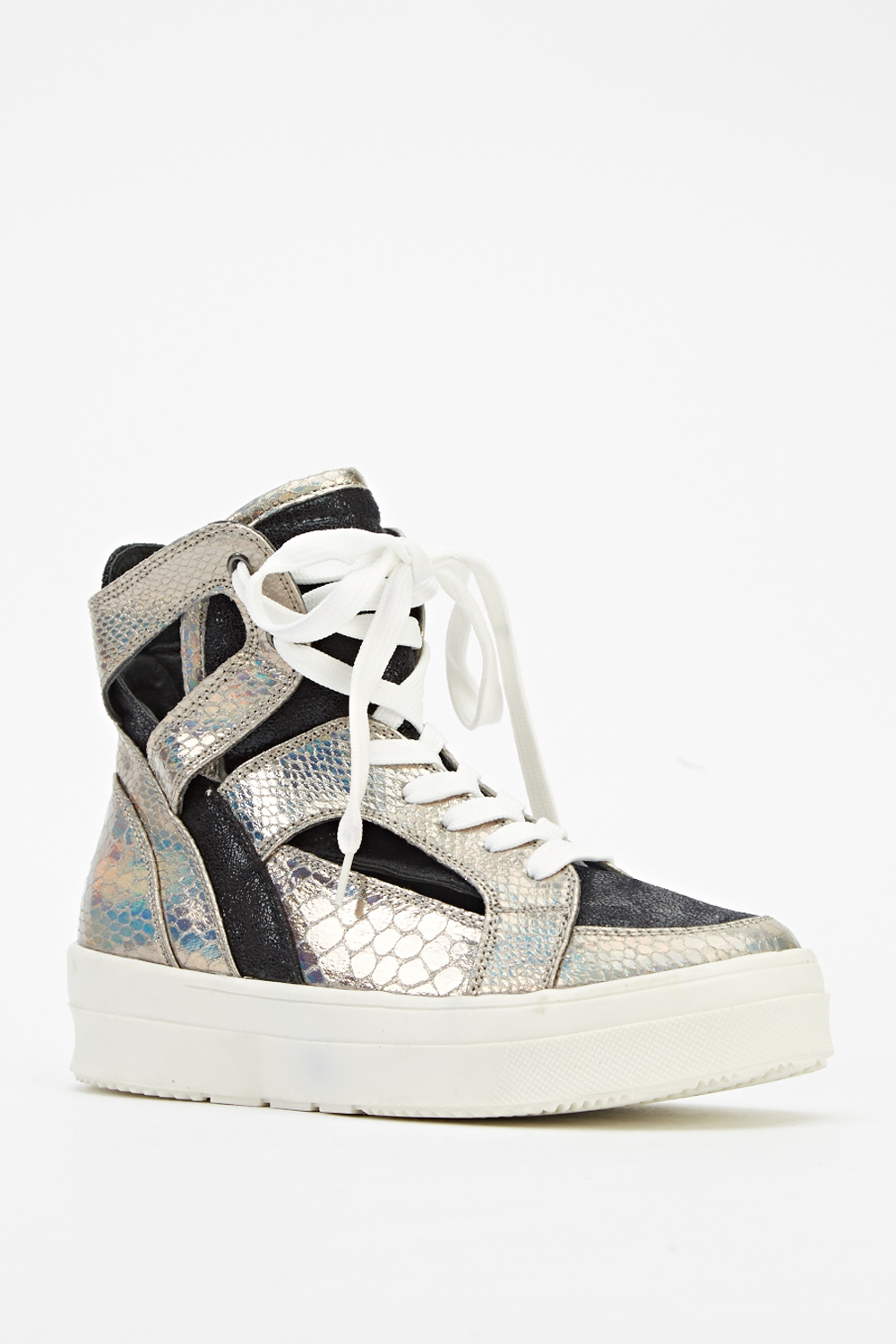 004d9c647 Mock Croc Contrast Holographic High Top Trainers - Just £5