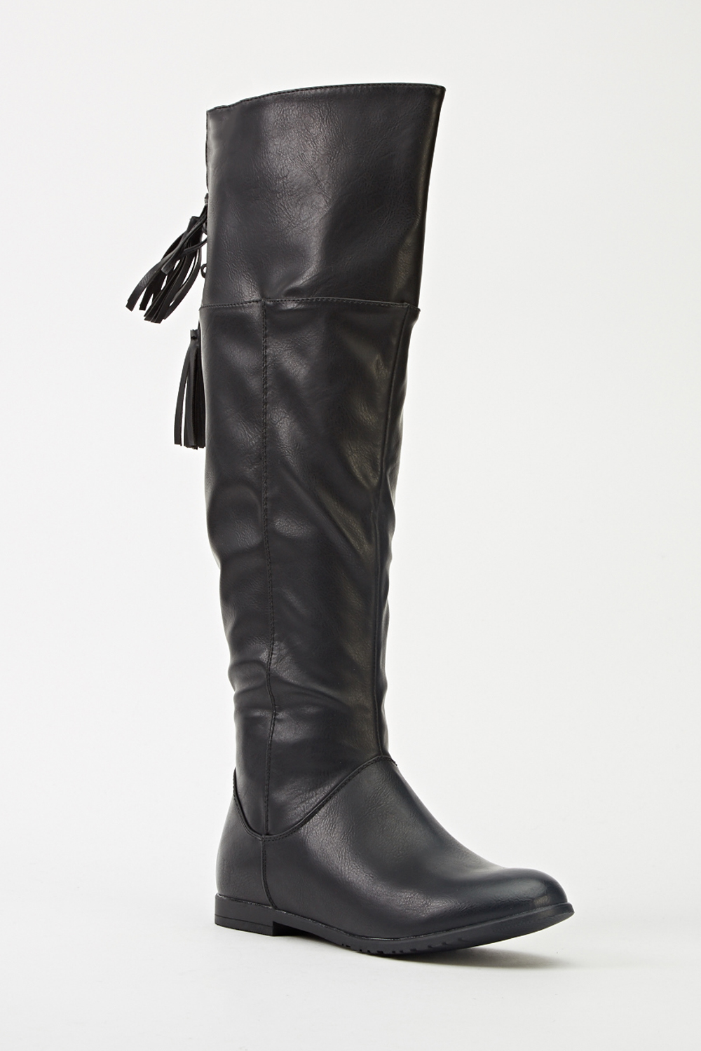 bdae3bf6c9f Black Faux Leather Knee High Boots - Just £5