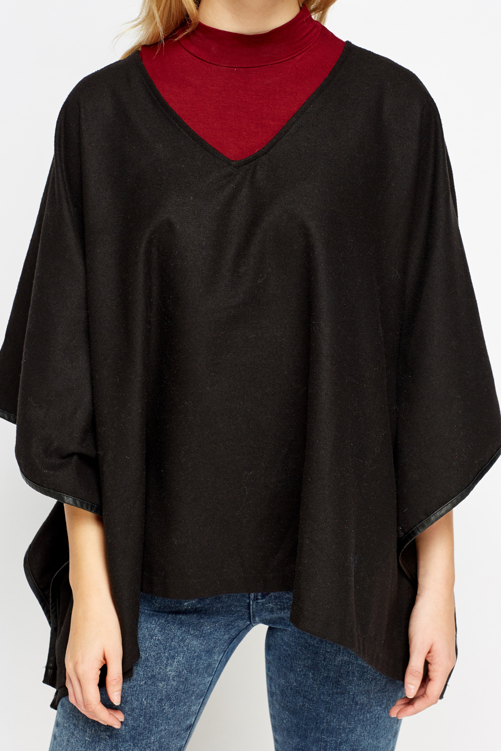 Deep V Neck Poncho Just 163 5