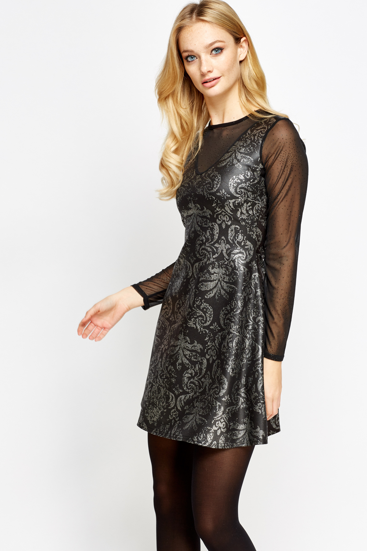 Metallic Printed Mesh Insert Skater Dress - Just £5 4aaf696f8