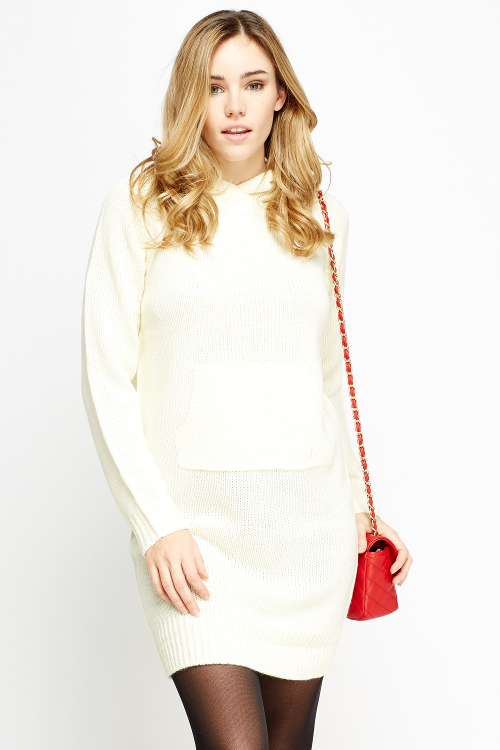 fb1f4ae6d7 Cream Knitted Hooded Jumper Dress - Just £5