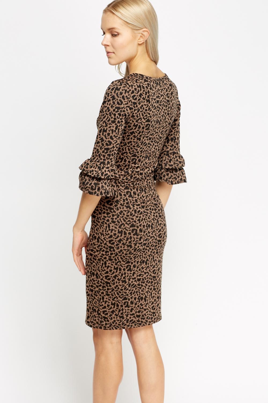 Flare Sleeve Animal Print Dress