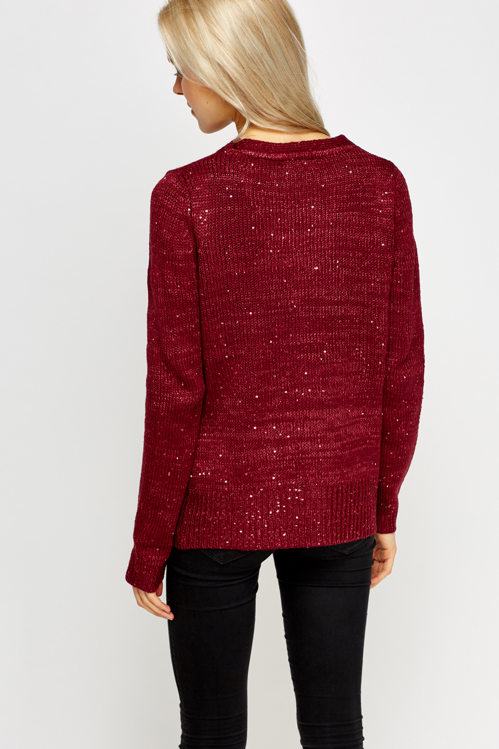Sequin Knitted Cardigan - Maroon or Off White - Just £5