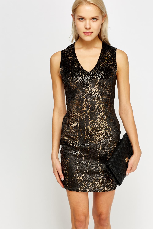 velveteen metallic animal print dress black multi just 2