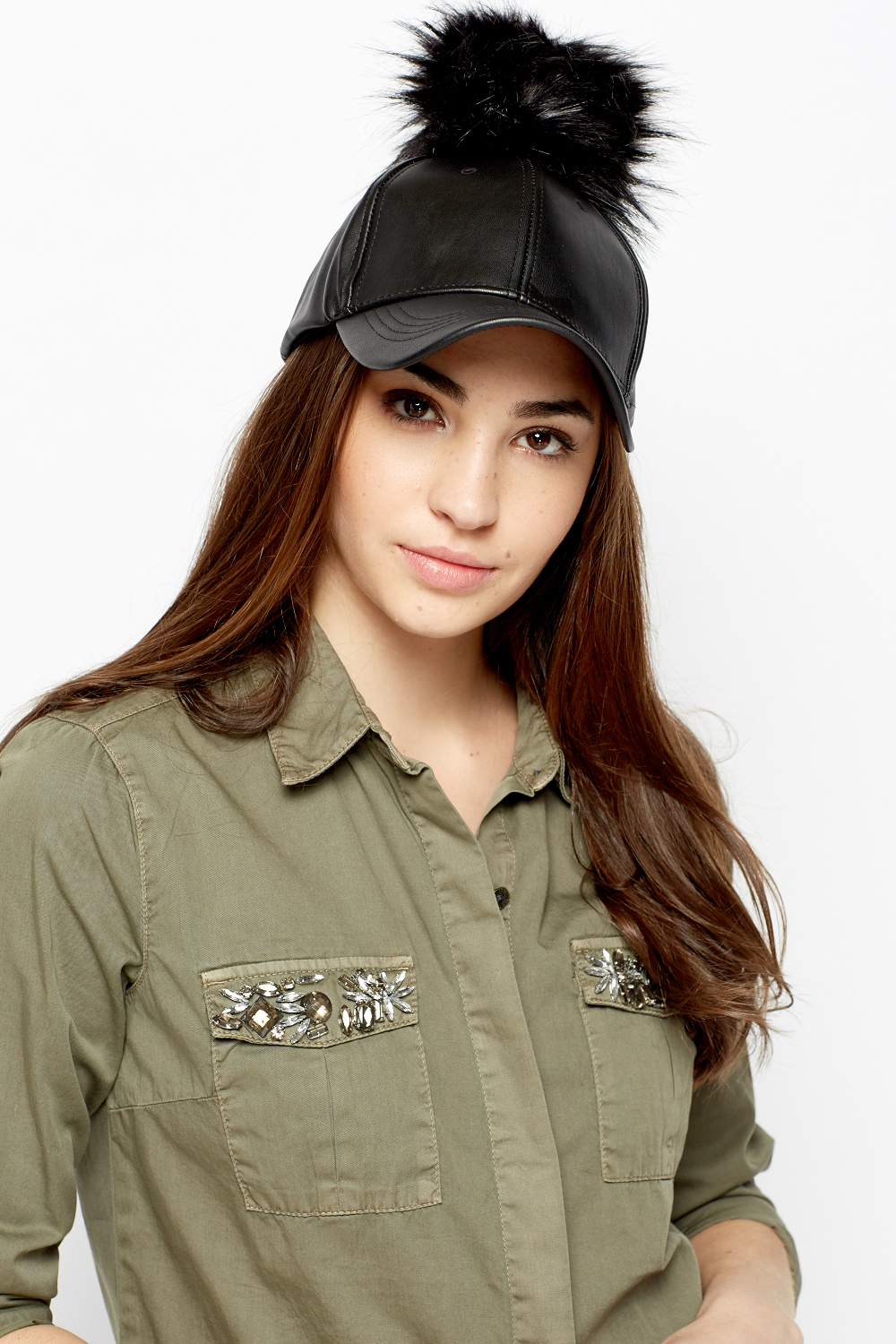 d73696e7a76 Faux Leather Pom Pom Cap - Just £5