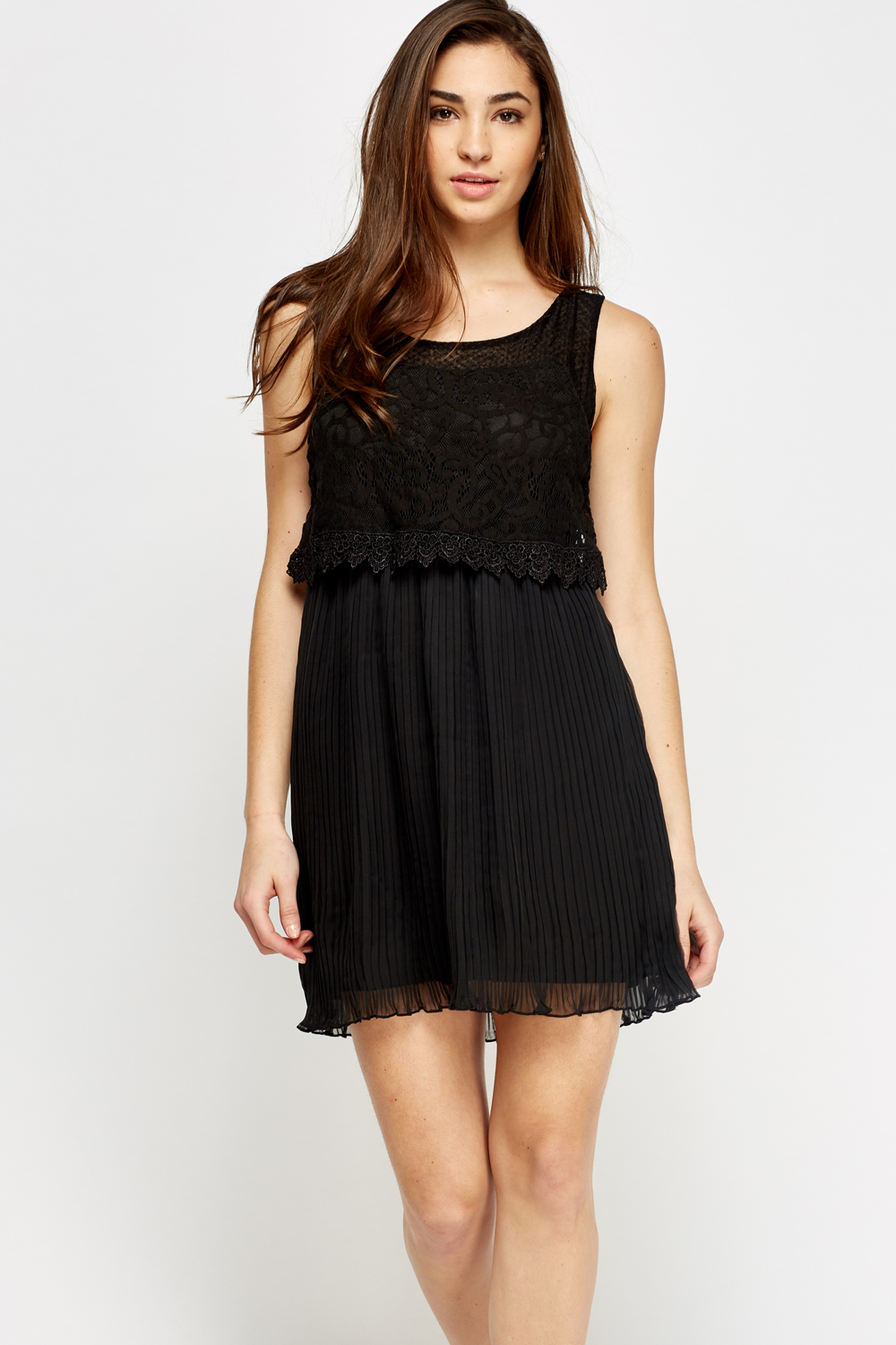 Lace Overlay Pleated Dress - Black - Just £5