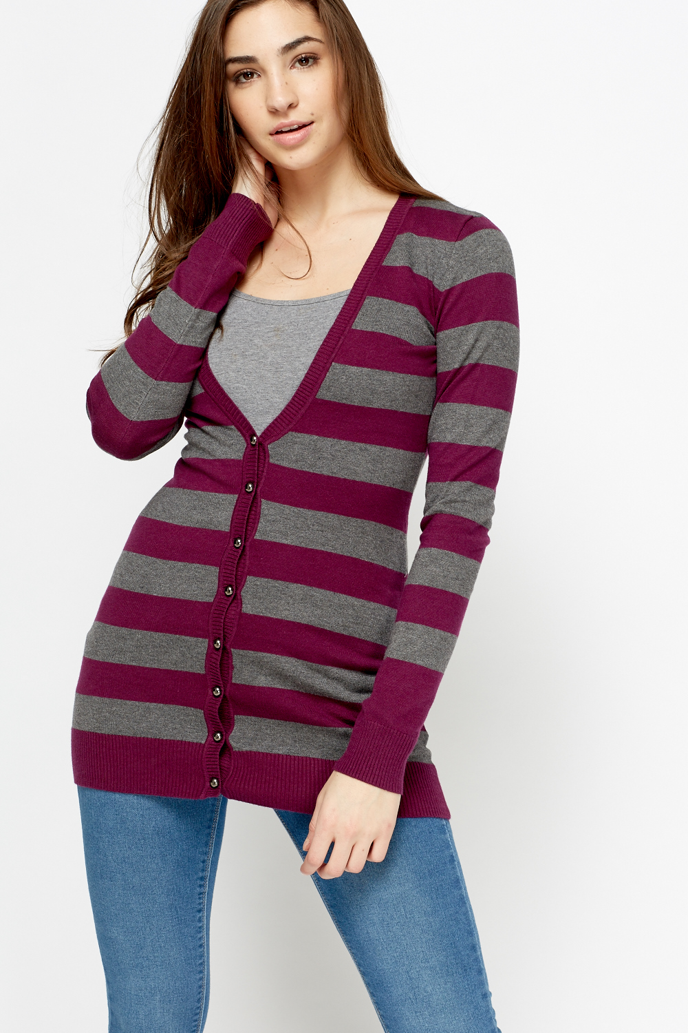 Plunge Stripe Longline Cardigan - Just £5