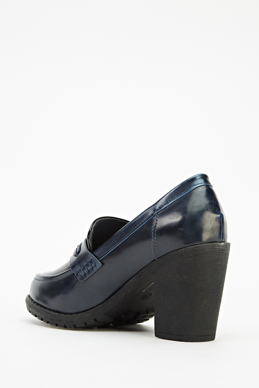 High Block Heel Loafers Black Just 163 5