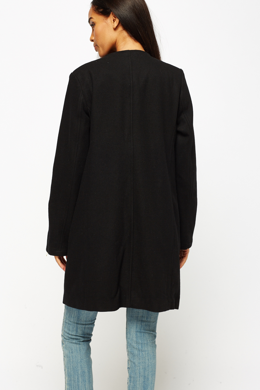 Asymmetric Zip Front Long Black Coat
