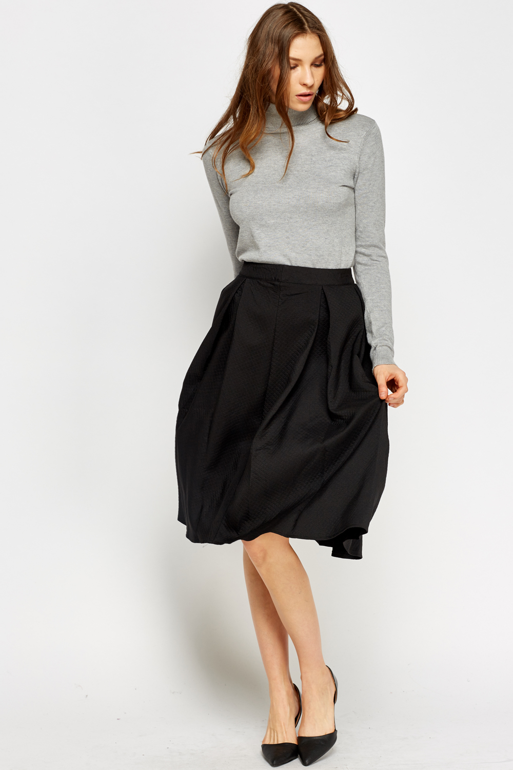 High Waist Black Midi Skirt - Just £5