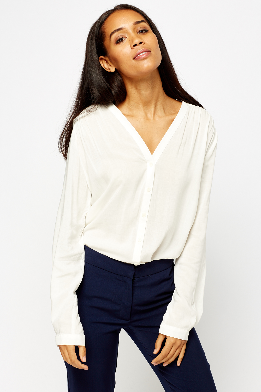 614ec29fa0856 V-Neck Sheer Cream Blouse - Just £5
