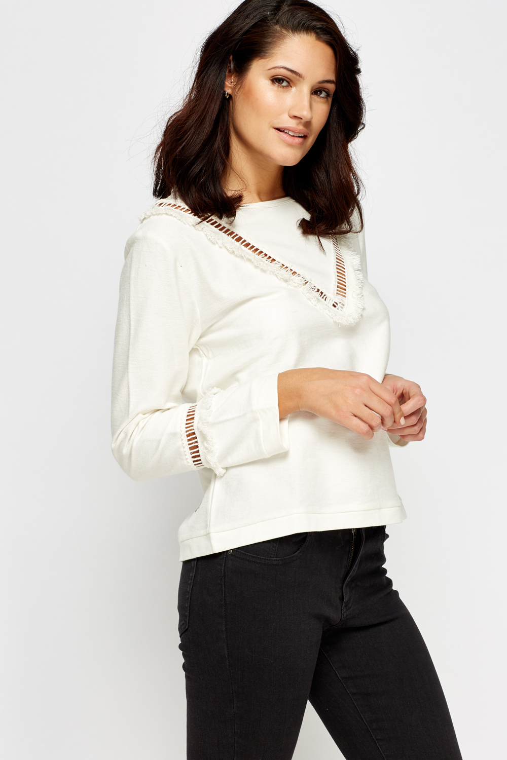 21cb1e285399 Off White Frayed Cut Jumper - Just £5