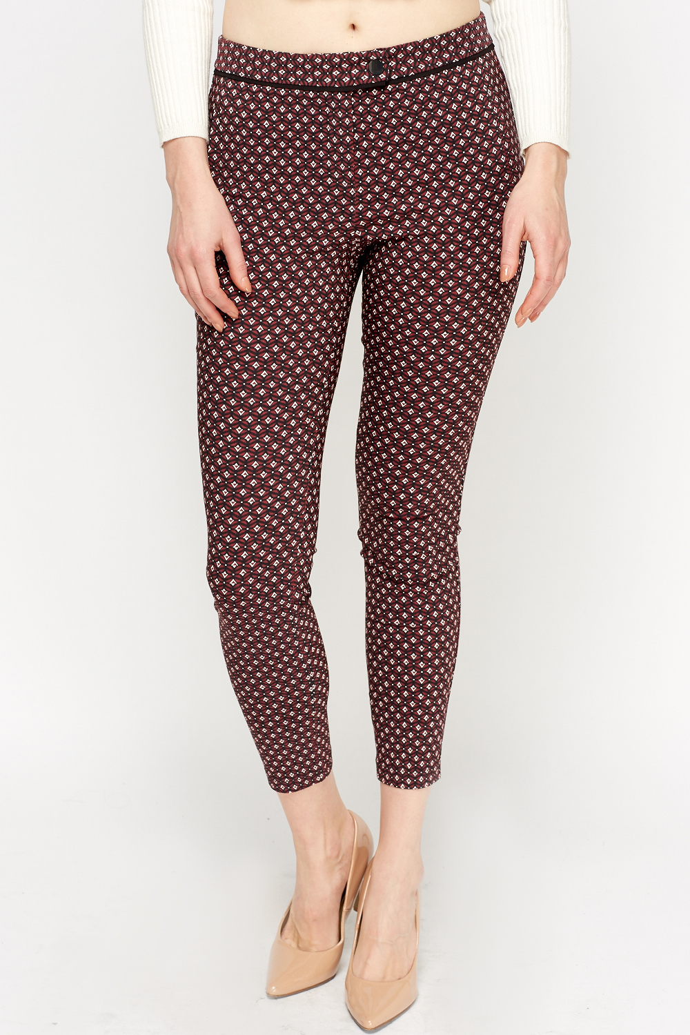 Maroon Printed Cigarette Trousers Just 163 5