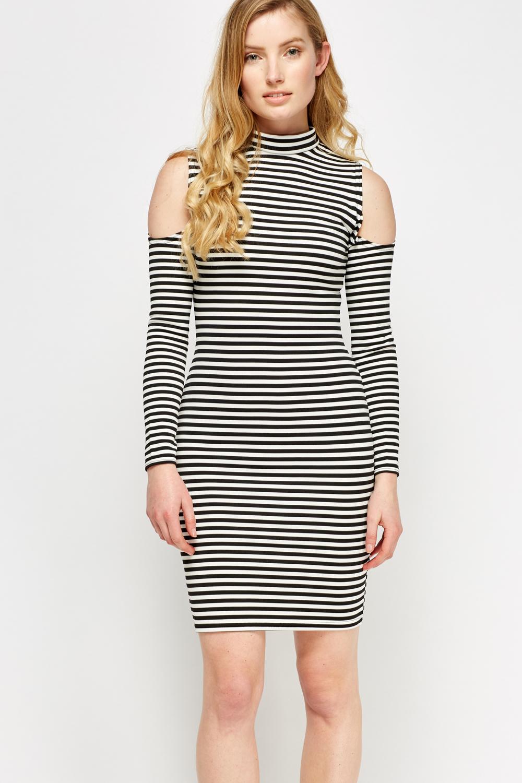 2c46de28e High Neck Striped Cold Shoulder Dress - Just £5