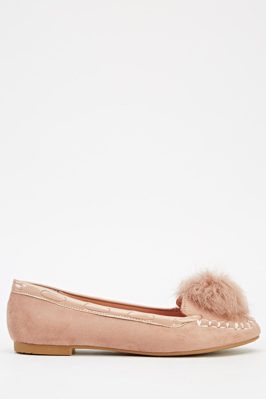 4b01b6c73f7 Faux Fur Trim Pom Pom Ballet Pumps - Just £5